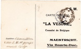 LA VESDRE Carte Avis De Réception D'une Somme De Cinq Francs Vers Maestricht - Oblitération P.M.B. N° 4 - Belgisch Leger