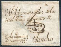 """C.1820 Guatemala Honduras Comayagua Cover With Framed """"COMA/YAGUA"""" Mark & M/s """"4"""" Reales - Olancho. - Ecuador"""