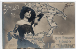 CARTA FERROVIARIA - RICORDO ITALIA MERIDIONALE - VIAGGIATA - Schienenverkehr