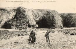 85. CPA. BRETIGNOLLES. Plage De Brétignolles, Grotte Du Prégneau, Dite Four à Catteau. 1921. - Bretignolles Sur Mer
