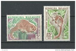 "Madagascar YT 536 & 537 "" Lémuriens "" 1973 Neuf** - Madagascar (1960-...)"