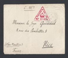 Guerre 14-18 Enveloppe Army Post Office R.21 Vers Nice Du 3/10/1915 Avec Censure - Guerre De 1914-18