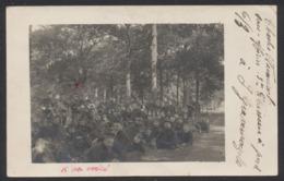 Carte Photo Militaria - Groupe De Militaire / Voyagée En S.M. + Obl Relais 'S Gravenwezele (1914) Vers Tournai. - Personnages