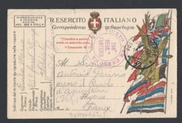 Guerre 14-18 Carte Militaire Italienne Avec Correspondance Du 10/9/1918  Vers Hyeres Cachet De Censure - Guerre De 1914-18