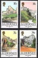 Alderney Fortifications 1985: Michel-No.28-31 ** MNH - Offered At POSTAL FACE VALUE - Alderney
