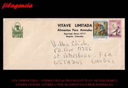 AMERICA. COLOMBIA. ENTEROS POSTALES. SOBRE CIRCULADO EMPRESAS 1960. BOGOTÁ-ST. PETERSBURG. VITAVE LTDA. - Colombia