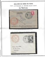 FRANCE ANNIVERSAIRE PREMIER BALLON MONTE LE NEPTUNE DOCUMENT + LETTRES Voir Scans - 1927-1959 Oblitérés