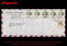AMERICA. COLOMBIA. ENTEROS POSTALES. SOBRE CIRCULADO EMPRESAS 1960. BARRANQUILLA-MILWAUKEE. INDUSTRIAS CONSOLIDADAS LTDA - Colombia