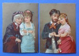 2 CHROMOS LITHOGRAPHIES...11.5 / 8.5 Cm............COUPLE   ET FEMME AVEC GRAND MÈRE - Autres