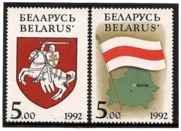 Belarus 1992 .Flag & Map, COA (Rider). 2v: 5.oo, 5.oo.   Michel # 4-5 - Wit-Rusland