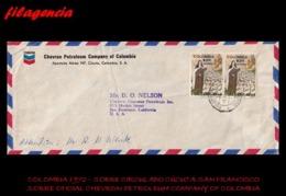 AMERICA. COLOMBIA. ENTEROS POSTALES. SOBRE CIRCULADO EMPRESAS 1972. CÚCUTA-SAN FRANCISCO. CHEVRON PETROLEUM COMPANY - Colombia