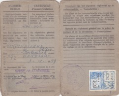 Certificat D'immatriculation 1949 - Vecchi Documenti