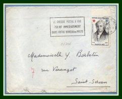 Algérie Flamme Oran R.P. Le Chèque Postal... 1960 / Fr N° 1227 Seul Croix Rouge > France - Rotes Kreuz