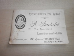 Ancienne Carte CONFITURES EN GROS R. BACHELET LAMBERSART-LILLE - Food