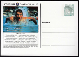 Germany / Olympic Games Los Angeles And Seoul / Swimming / Gold Medal Winner Michael Gross / Postal Stationery - Sommer 1984: Los Angeles