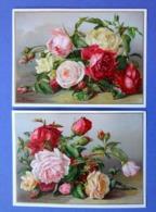 2 CHROMOS LITHOGRAPHIES ....12 / 16.5 Cm...........BOUQUET DE ROSES - Old Paper