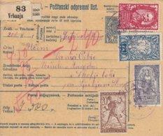 Yugoslavia SHS 1919 Parcel Card From Austro-Hungarian Period, Franked With CHainbreakers - 1919-1929 Regno Dei Serbi, Croati E Sloveni