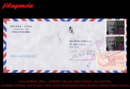 AMERICA. COLOMBIA. ENTEROS POSTALES. SOBRE CIRCULADO EMPRESAS 1986. MEDELLÍN-USTER. RETEXA LTDA. FRANQUEO MECÁNICO - Colombia