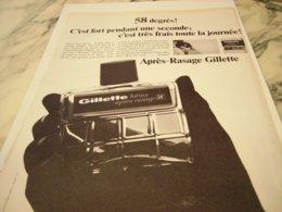 ANCIENNE PUBLICITE APRES RASAGE  GILLETTE  1966 - Parfums & Beauté