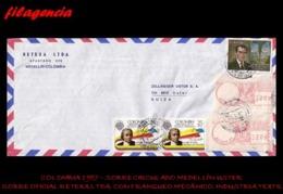 AMERICA. COLOMBIA. ENTEROS POSTALES. SOBRE CIRCULADO EMPRESAS 1987. MEDELLÍN-USTER. RETEXA LTDA. FRANQUEO MECÁNICO - Colombia