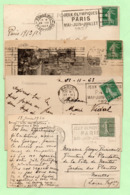 """4 CP Avec FLAMMES  """"JEUX OLYMPIQUES PARIS MAI-JUIN-JUILLET 1924 - - Marcophilie (Lettres)"""