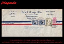 AMERICA. COLOMBIA. ENTEROS POSTALES. SOBRE CIRCULADO EMPRESAS 1950. MEDELLÍN-UTICA. COCK & ARANGO LTDA. SELLO SOBRETASA - Colombia