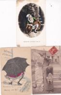 Lot 3 Cpa SCATOLOGIE 1/Femme Faisant Uriner Bébé / Femme Urinant Sous Parapluie Ill, G. Mouton  3/ Jeune Femme Urinant - Postcards