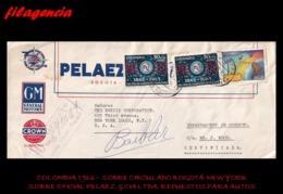AMERICA. COLOMBIA. ENTEROS POSTALES. SOBRE CIRCULADO EMPRESAS 1966. BOGOTÁ-NEW YORK. PELAEZ & CIA. LTDA. REPUESTOS AUTOS - Colombia