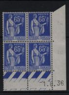 FRANCE  Coin Daté **  Type Paix 65c Bleu  Yvert 365  -1.6.38  Neuf Sans Charnière - Coins Datés