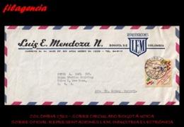 AMERICA. COLOMBIA. ENTEROS POSTALES. SOBRE CIRCULADO EMPRESAS 1963. BOGOTÁ-UTICA. REPRESENTACIONES LEM. IND. ELECTRÓNICA - Colombia