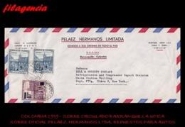 AMERICA. COLOMBIA. ENTEROS POSTALES. SOBRE CIRCULADO EMPRESAS 1959. BARRANQUILLA-UTICA. PELAEZ HERMANOS LTDA. AUTOS - Colombia