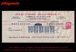 AMERICA. COLOMBIA. ENTEROS POSTALES. SOBRE CIRCULADO EMPRESAS 1953. BUCARAMANGA-UTICA. JULIO CÉSAR VILLAMIZAR C. AUTOS - Colombia