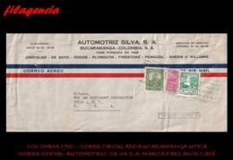 AMERICA. COLOMBIA. ENTEROS POSTALES. SOBRE CIRCULADO EMPRESAS 1950. BUCARAMANGA-UTICA. AUTOMOTRIZ SILVA. MARCA PARLANTE - Colombia