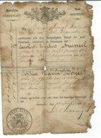 "OOSTENDE-OSTENDE- ""HUWELYKS CERTIFICAET"" Certificat De Mariage CAROLUS BRUNEEL(1834) Et SOPHIA DOYE (1830) - Oostende"