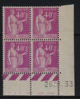 FRANCE  Coin Daté ** Type Paix 40c Lilas Yvert 281  26.9.33  Neuf Sans Charnière - Coins Datés