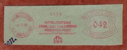Ausschnitt, Absenderfreistempel, Mitteldeutsche Stahl- Und Walzwerke Friedrich Flick, 42 Rpf, Hennigsdorf 1938 (81751) - Machine Stamps (ATM)