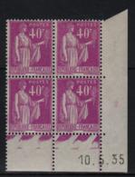 FRANCE  Coin Daté ** Type Paix 40c Lilas Yvert 281  10.5.35  Neuf Sans Charnière - Coins Datés