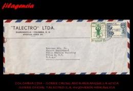 AMERICA. COLOMBIA. ENTEROS POSTALES. SOBRE CIRCULADO EMPRESAS 1954. BARRANQUILLA-UTICA. TALECTRO LTDA. IND. HIDRAÚLICA - Colombia