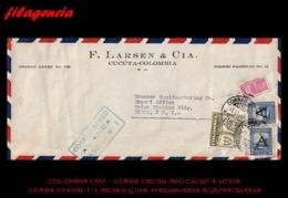 AMERICA. COLOMBIA. ENTEROS POSTALES. SOBRE CIRCULADO EMPRESAS 1950. CÚCUTA-UTICA. F. LARSEN & CIA. MAQUINARIA AGRÍCOLA - Colombia