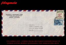 AMERICA. COLOMBIA. ENTEROS POSTALES. SOBRE CIRCULADO EMPRESAS 1958. PUERTO BERRÍO-BOGOTÁ. IBAÑEZ & MANNER LTDA. TRENES - Colombia