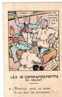 """ILLUSTRATEUR J P GODREUIL GARDE A VOS ! """" CI JIT LE PERE CENT """" LES 10 COMMANDEMENTS DU SOLDAT - Künstlerkarten"""