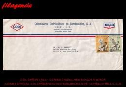 AMERICA. COLOMBIA. ENTEROS POSTALES. SOBRE CIRCULADO EMPRESAS 1963. BOGOTÁ-UTICA. DISTRIBUIDORES DE COMBUSTIBLES S.A. - Colombia