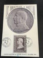 Premier Jour Carte Maximum FDC PETAIN 24 Avril 1944 AUCHEL FRANCE YT N° 606 Bonne Cote - FDC