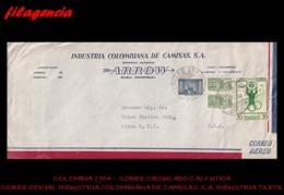 AMERICA. COLOMBIA. ENTEROS POSTALES. SOBRE CIRCULADO EMPRESAS 1954. CALI-UTICA. INDUSTRIA COLOMBIANA DE CAMISAS S.A. - Colombia