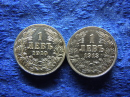 BULGARIA 1 LEV 1910 KM28, 1913 KM31 Cleaned - Bulgaria