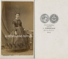 CDV Second Empire Femme Avec Jolie Robe-photo Subercaze Artiste Peintre à Pau - Old (before 1900)