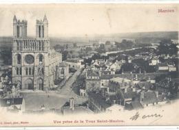 MANTES . VUE PRISE DE LA TOUR SAINT-MACLOU . DOS NON DIV AFFR AU VERSO LE 23-11-1902 . 2 SCANES - Mantes La Ville