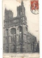 1. MANTES . LA CATHEDRALE . CARTE AFFR SUR RECTO LE 7-8-1908 . 2 SCANES - Mantes La Ville