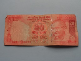 20 ( Twenty ) RUPEES : 82W 898672 ( Reserve Bank Of India ) ! - Inde