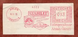 Ausschnitt, Absenderfreistempel, Stahlit Rollmann & Tovar, 13 Rpf, Ahlen 1933 (81762) - Marcophilie - EMA (Empreintes Machines)